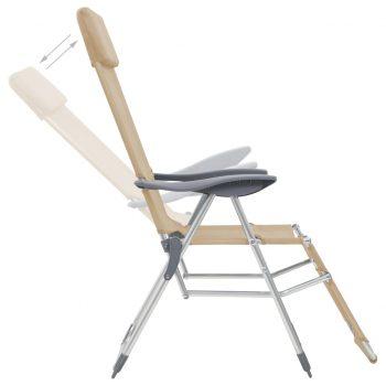 Zložljivi stoli za kampiranje 2 kosa krem aluminij