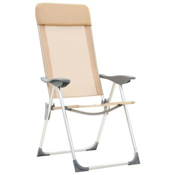 Zložljivi stoli za kampiranje 2 kosa kremne barve aluminij