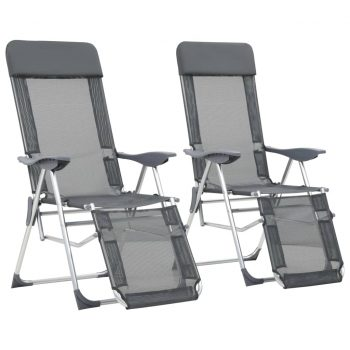 Zložljivi stoli za kampiranje 2 kosa z naslonjalom za noge sivi