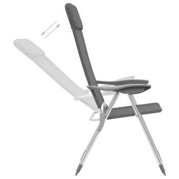 Zložljivi stoli za kampiranje 4 kosi sive barve aluminij