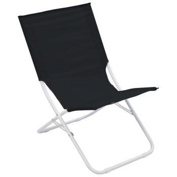 Zložljivi stoli za na plažo 2 kosa črni