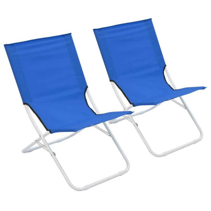 Zložljivi stoli za na plažo 2 kosa modri