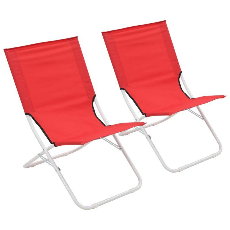 Zložljivi stoli za na plažo 2 kosa rdeči