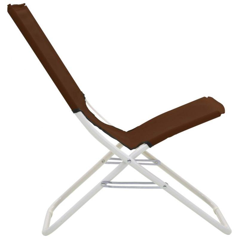 Zložljivi stoli za na plažo 2 kosa rjavi