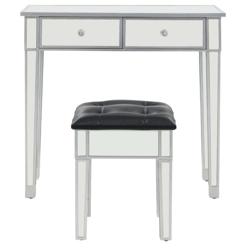 Zrcalna mizica za ličenje s stolčkom MDF in steklo