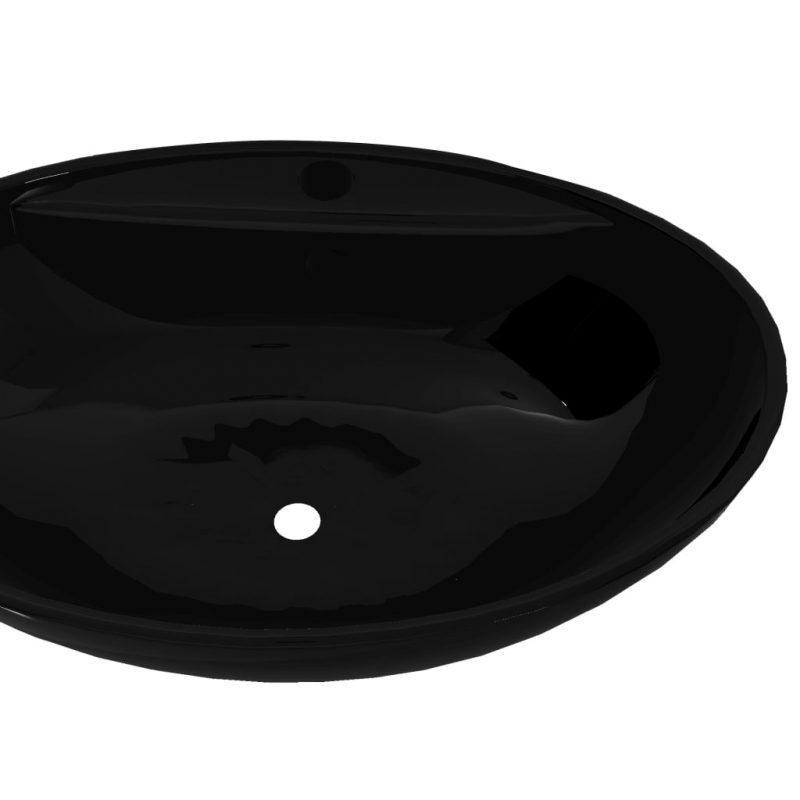 Črn Keramični Kopalniški Umivalnik z Odprtino Proti Prelivanju Ovalen