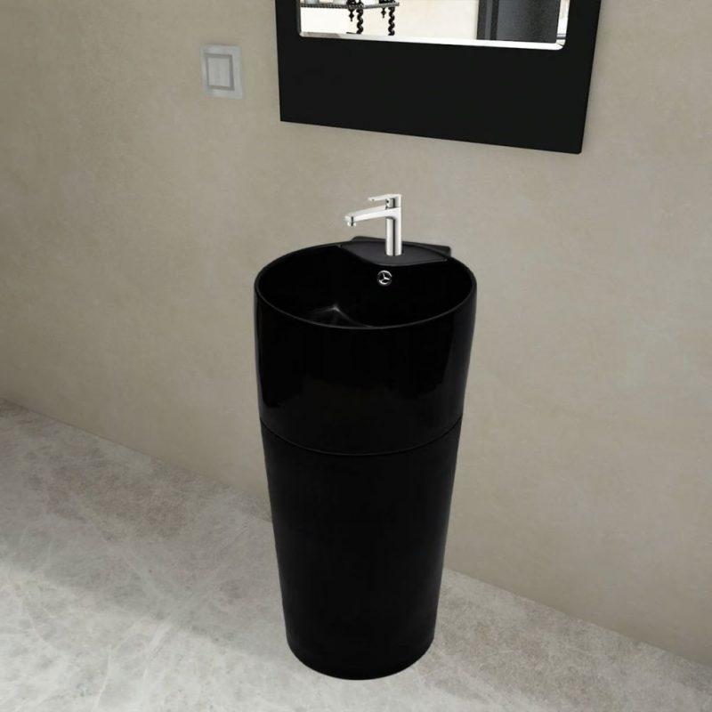 Črn Okrogel Keramičen Stoječi Umivalnik za Kopalnico z Odprtinami