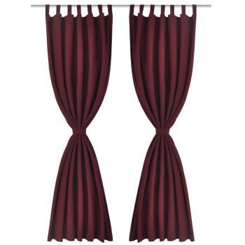2 kosa bordo satenasih zaves z obročki 140 x 175 cm