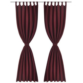 2 kosa bordo satenasih zaves z obročki 140 x 225 cm