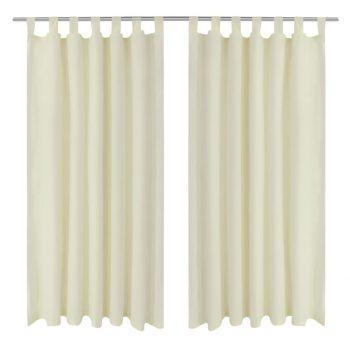 2 kosa krem satenasih zaves z obročki 140 x 175 cm