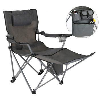 HI Razkošen stol za kampiranje z naslonjalom za noge antraciten