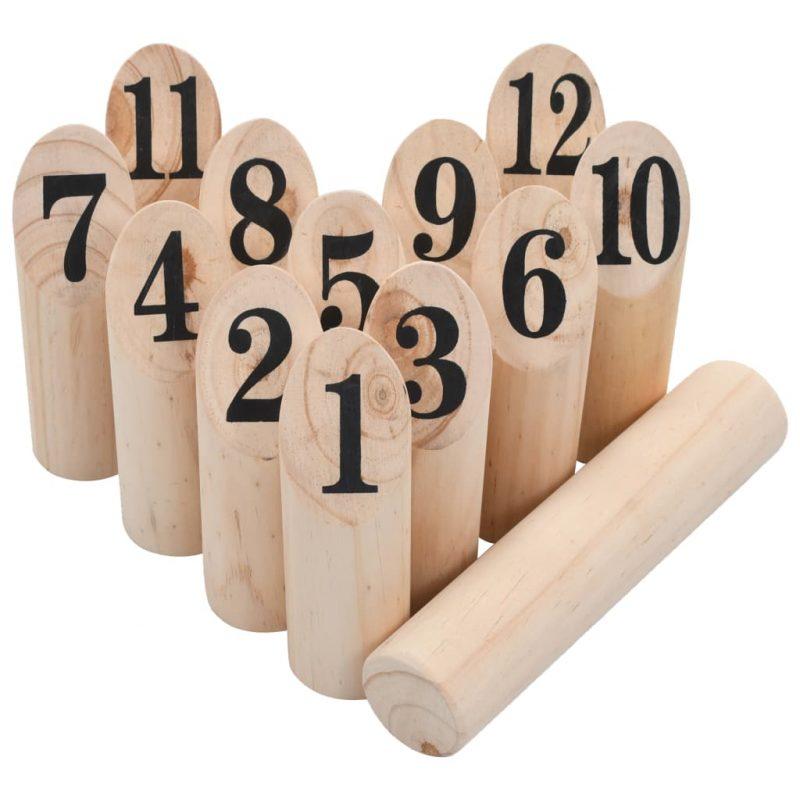 Igra Kubb s številkami komplet iz lesa