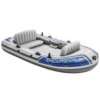 Intex Napihljiv čoln Excursion 4 komplet z motorjem in nosilcem