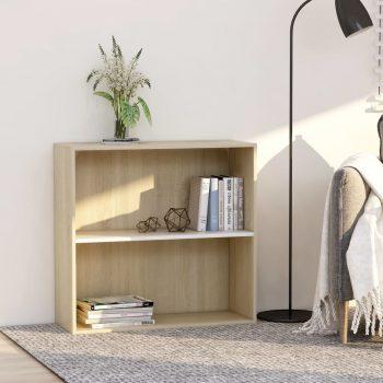 Knjižna omara 2-nadstropna bela in sonoma hrast 80x30x76