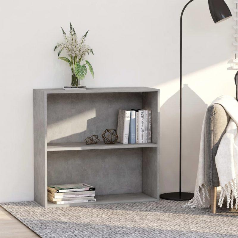 Knjižna omara 2-nadstropna betonsko siva 80x30x76