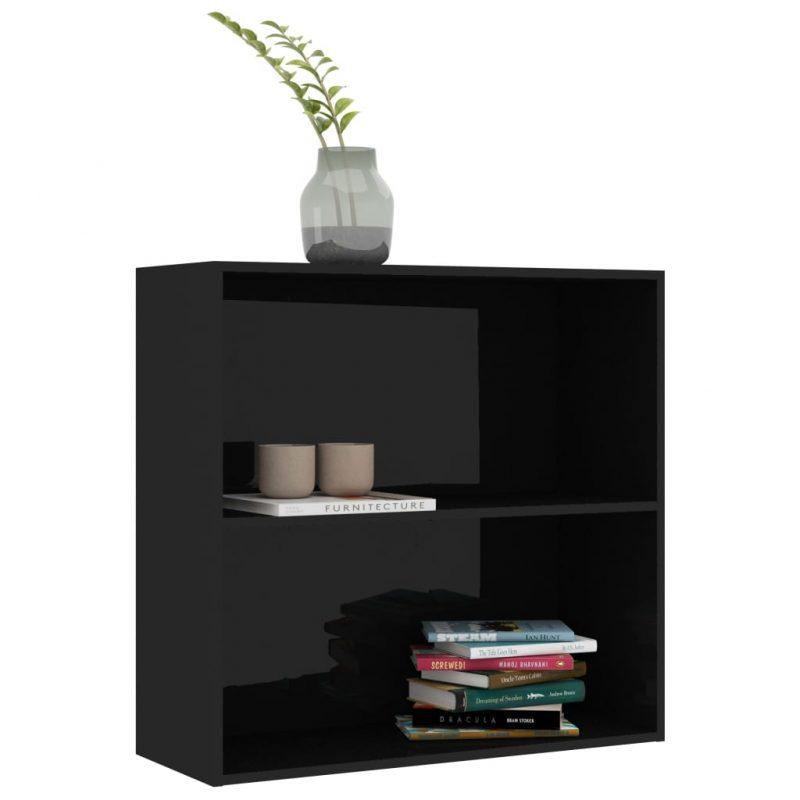 Knjižna omara 2-nadstropna visok sijaj črna 80x30x76