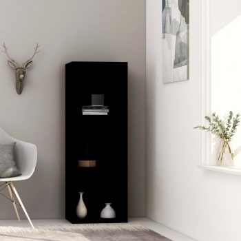 Knjižna omara 3-nadstropna črna 40x30x114 cm iverna plošča