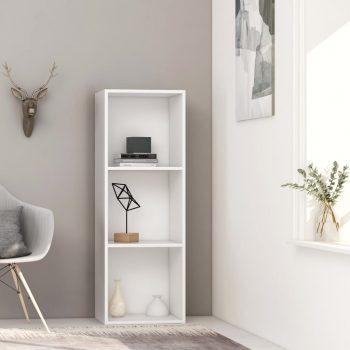 Knjižna omara 3-nadstropna bela 40x30x114 cm iverna plošča