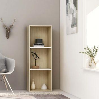 Knjižna omara 3-nadstropna bela in sonoma hrast 40x30x114 cm