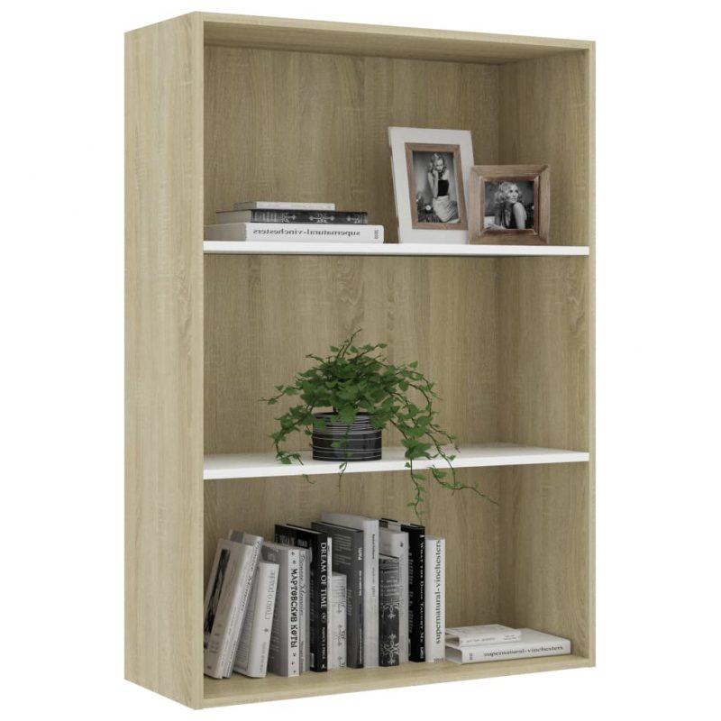 Knjižna omara 3-nadstropna bela in sonoma hrast 80x30x114 cm
