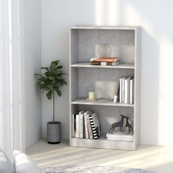 Knjižna omara 3-nadstropna betonsko siva 60x24x108 cm