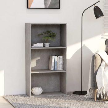 Knjižna omara 3-nadstropna betonsko siva 60x30x114 cm