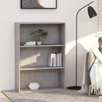 Knjižna omara 3-nadstropna betonsko siva 80x30x114cm iverna pl.