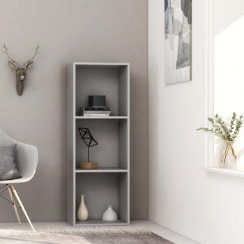 Knjižna omara 3-nadstropna siva 40x30x114 cm iverna plošča
