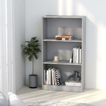 Knjižna omara 3-nadstropna siva 60x24x108 cm iverna plošča