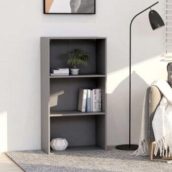 Knjižna omara 3-nadstropna siva 60x30x114 cm iverna plošča