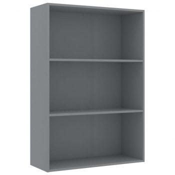 Knjižna omara 3-nadstropna siva 80x30x114 cm iverna plošča