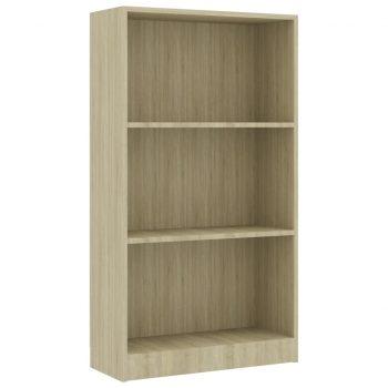 Knjižna omara 3-nadstropna sonoma hrast 60x24x108 cm iverna pl.