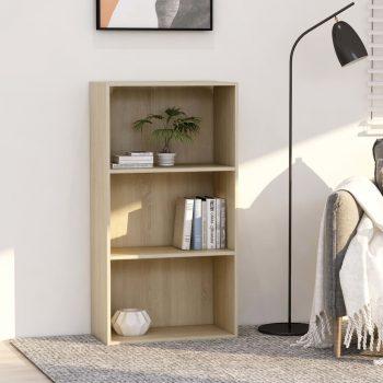 Knjižna omara 3-nadstropna sonoma hrast 60x30x114 cm iverna pl.