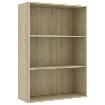 Knjižna omara 3-nadstropna sonoma hrast 80x30x114 cm iverna pl.
