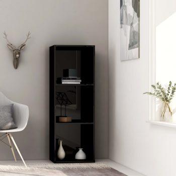 Knjižna omara 3-nadstropna visok sijaj črna 40x30x114 cm