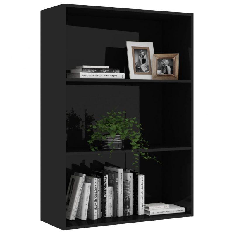 Knjižna omara 3-nadstropna visok sijaj črna 80x30x114 cm