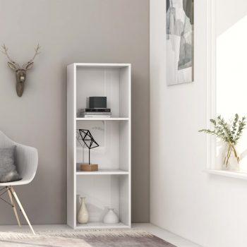Knjižna omara 3-nadstropna visok sijaj bela 40x30x114 cm