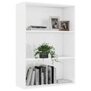 Knjižna omara 3-nadstropna visok sijaj bela 80x30x114 cm
