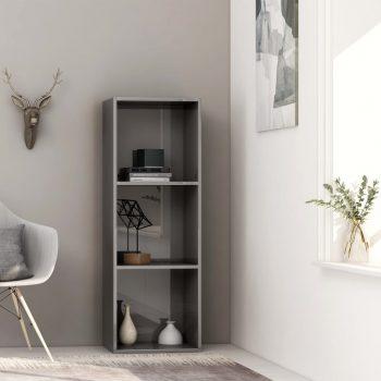 Knjižna omara 3-nadstropna visok sijaj siva 40x30x114 cm
