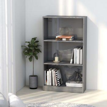 Knjižna omara 3-nadstropna visok sijaj siva 60x24x108 cm