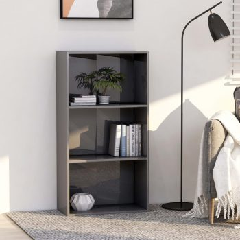 Knjižna omara 3-nadstropna visok sijaj siva 60x30x114 cm