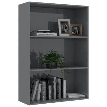 Knjižna omara 3-nadstropna visok sijaj siva 80x30x114 cm