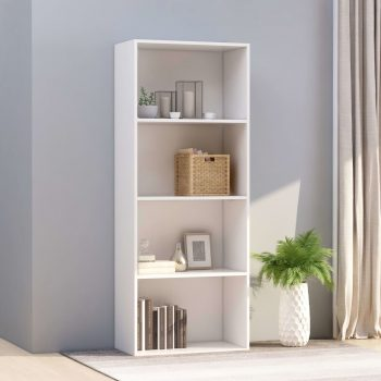 Knjižna omara 4-nadstropna bela 60x30x151