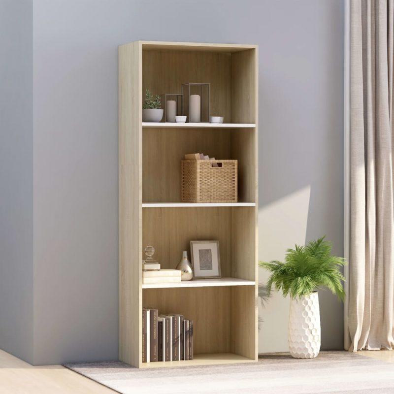Knjižna omara 4-nadstropna bela in sonoma hrast 60x30x151