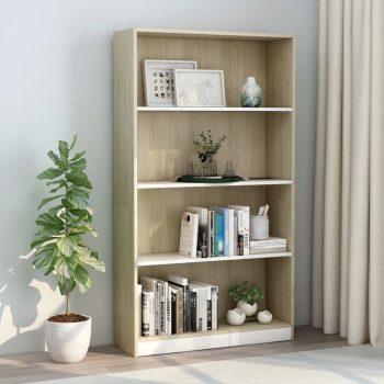 Knjižna omara 4-nadstropna bela in sonoma hrast 80x24x142 cm