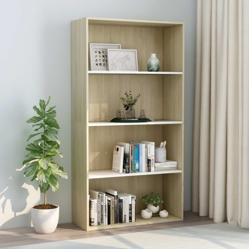 Knjižna omara 4-nadstropna bela in sonoma hrast 80x30x151