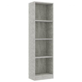 Knjižna omara 4-nadstropna betonsko siva 40x24x142 cm