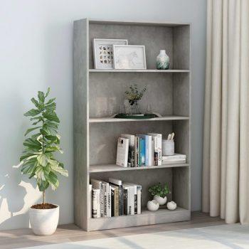 Knjižna omara 4-nadstropna betonsko siva 80x24x142 cm