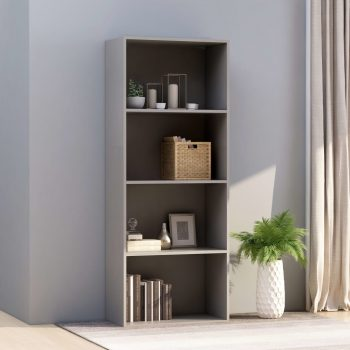 Knjižna omara 4-nadstropna siva 60x30x151