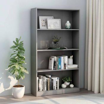 Knjižna omara 4-nadstropna siva 80x24x142 cm iverna plošča
